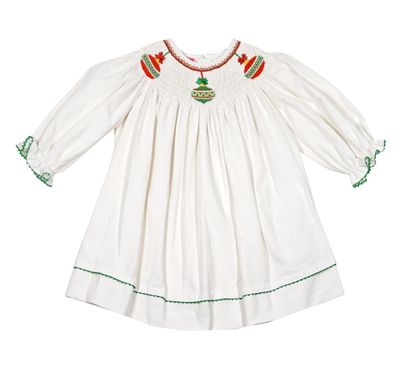 Claire & Charlie Baby / Toddler Girls Winter White Corduroy Smocked Christmas Ornaments Dress - Long Sleeves