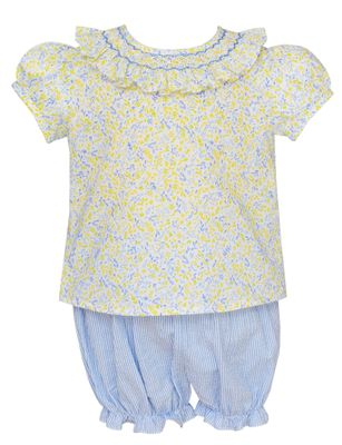 Claire & Charlie Baby / Toddler Girls Yellow Floral / Blue Stripe Smocked Bloomer Set
