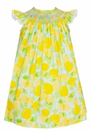 Claire & Charlie Baby / Toddler Girls Yellow Lemon Print Smocked Bishop Dress