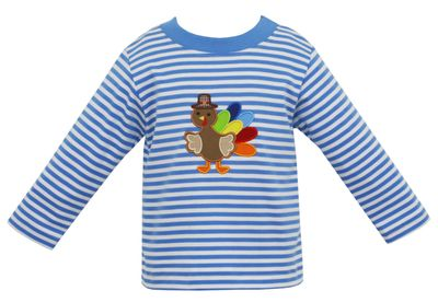 Claire & Charlie Boys Blue Striped Shirt - Applique Thanksgiving Turkey