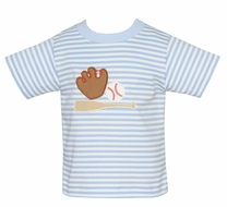 Claire & Charlie Boys Blue Striped Shirt - Baseball Theme