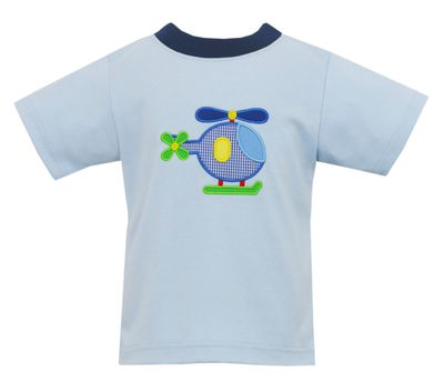 Claire & Charlie Boys Light Blue Knit Shirt - Helicopter
