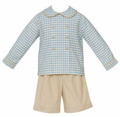 Claire & Charlie Boys Dressy Tan Khaki Corduroy Shorts with Double Breasted Blue Plaid Shirt