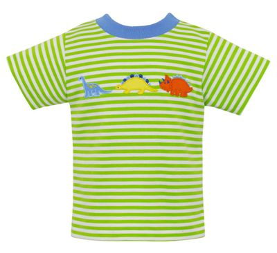 Claire & Charlie Boys Green Stripe Knit Shirt - Dinosaurs