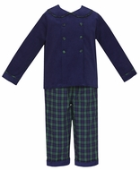 Claire & Charlie Boys Navy Blue Corduroy Shirt with Blackwatch Plaid Reversible Pants
