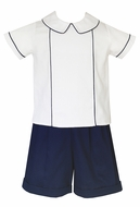 Claire & Charlie Boys Navy Blue Pique Dressy Shorts Set