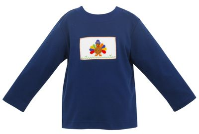 Claire & Charlie Boys Navy Blue Shirt - Crochet Thanksgiving Turkey