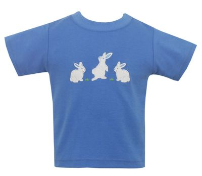 Claire & Charlie Boys Periwinkle Blue Shirt - Easter Bunnies