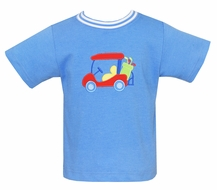 Claire & Charlie Boys Periwinkle Blue Shirt - Golf Cart Applique