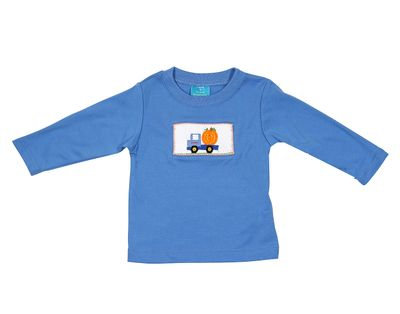 Claire & Charlie Boys Periwinkle Blue Smocked Pumpkin Truck Shirt