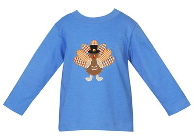 Claire & Charlie Boys Periwinkle Blue Thanksgiving Turkey Shirt