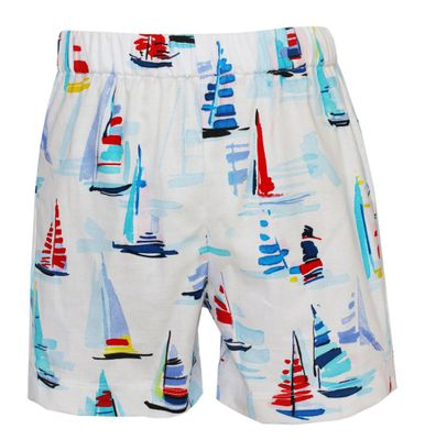 Claire & Charlie Boys Pull On Shorts - Red / Blue Sailboat Print