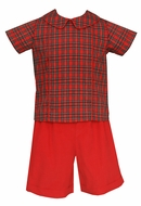 Claire & Charlie Boys Red Corduroy Short Set with Holiday Plaid Shirt
