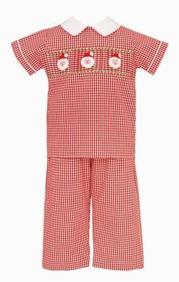 Claire & Charlie Boys Red Gingham Smocked Santa Claus Pants Set
