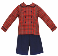 Claire & Charlie Boys Red Holiday Plaid Double Breasted Shirt with Navy Blue Corduroy Shorts