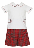 Claire & Charlie Boys Red Holiday Plaid Dressy Shorts Set