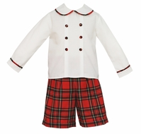 Claire & Charlie Boys Red Holiday Plaid Short Set - Double Breasted Shirt