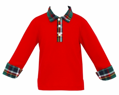 Claire & Charlie Boys Red Polo Shirt with Green Holiday Plaid Collar & Cuffs