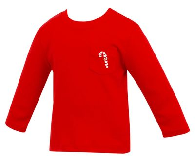 Claire & Charlie Boys Red T-Shirt - Pocket with Candy Cane