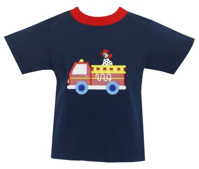 Claire & Charlie Boys Shirt - Navy Blue with Red Firetruck