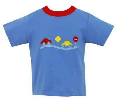 Claire & Charlie Boys Shirt - Periwinkle Blue with Highway Traffic