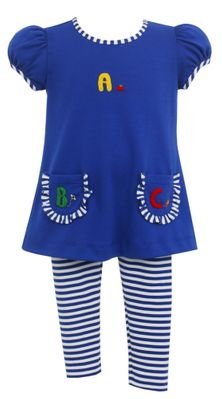 Claire & Charlie Girls Blue Back to School Tunic with Royal Blue Stripe Leggings