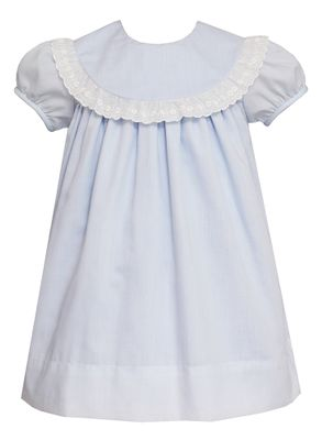 Claire & Charlie Girls Blue Batiste Float Dress - White Swiss Eyelet Collar