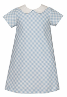 Claire & Charlie Girls Blue Check A-Line Dress with Collar