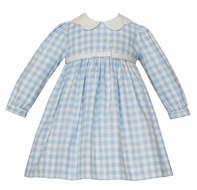 Claire & Charlie Girls Blue Check Dress with Scallop Collar