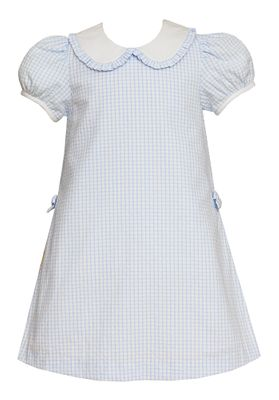 Claire & Charlie Girls Blue Check Seersucker Dress - Side Pleats & Bows