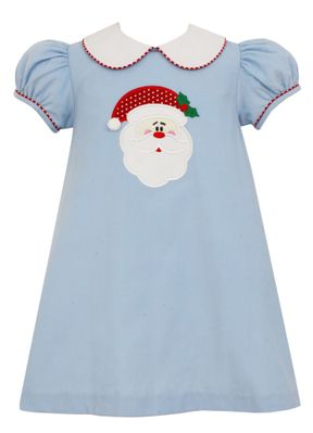 Claire & Charlie Girls Blue Corduroy Santa Face Dress with Collar