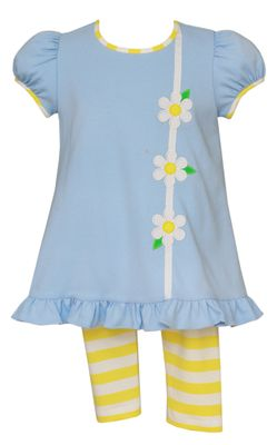 Claire & Charlie Girls Blue Daisy Flower Tunic Top with Yellow Striped Leggings