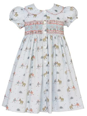Claire & Charlie Girls Blue Horses Print Smocked Dress - Front and Back!
