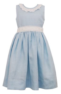 Claire & Charlie Girls Blue Linen Sleeveless Dress with Sash