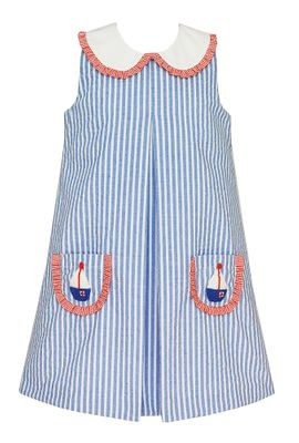 Claire & Charlie Girls Blue Stripe Sleeveless Dress - Sailboat Pockets