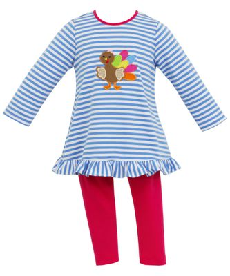 Claire & Charlie Girls Blue Stripe Thanksgiving Turkey Tunic Top with Pink Leggings