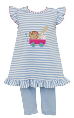 Claire & Charlie Girls Blue Striped Baseball Wagon Tunic with Leggings