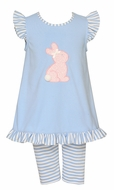 Claire & Charlie Girls Blue Striped Capri Leggings with Easter Bunny Top