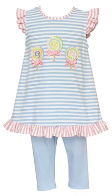 Claire & Charlie Girls Blue Striped Lollipops Tunic Top with Leggings