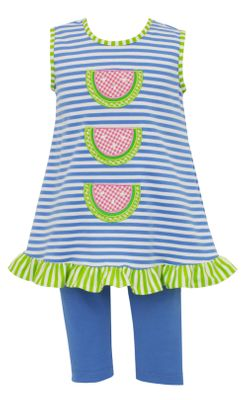 Claire & Charlie Girls - Blue Striped Watermelon Tunic with Leggings