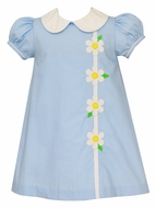Claire & Charlie Girls Blue / White Dots Daisy Flower Dress with Collar