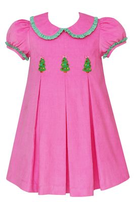 Claire & Charlie Girls Bubblegum Pink Corduroy Pleated Dress - Christmas Trees