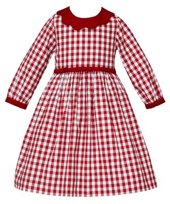 Claire & Charlie Girls Burgundy Check Dress with Scallop Collar