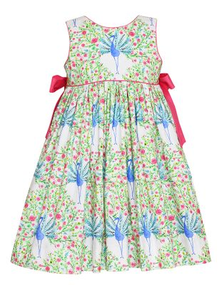 Claire & Charlie Girls Green Peacock Print Dress - Pink Bows on Sides