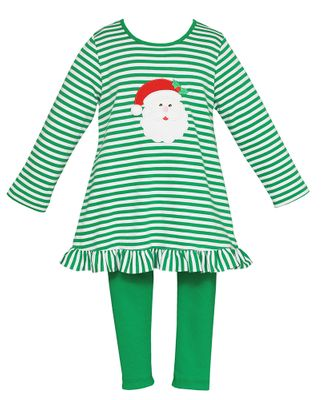 Claire & Charlie Girls Green Stripe Knit Santa Claus Tunic with Green Leggings