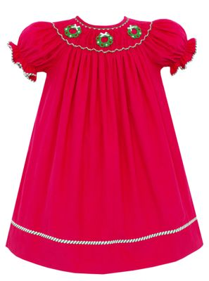 Claire & Charlie Girls Hot Pink Smocked Crochet Christmas Wreaths Bishop Dress