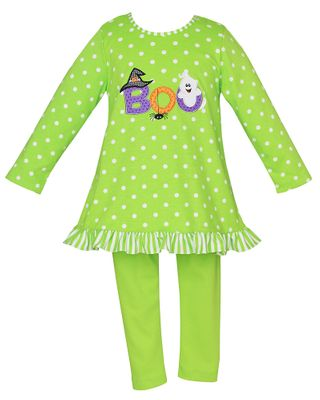 Claire & Charlie Girls Lime Green Halloween Boo Tunic with Leggings