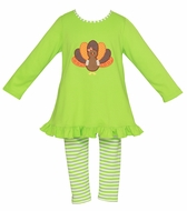 Claire & Charlie Girls Lime Green Striped Leggings with Thanksgiving Turkey Tunic Top