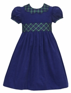 Claire & Charlie Girls Navy Blue Corduroy Dress - Blackwatch Plaid Scallop Collar & Sash