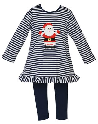 Claire & Charlie Girls Navy Blue Striped Santa Claus Tunic with Leggings